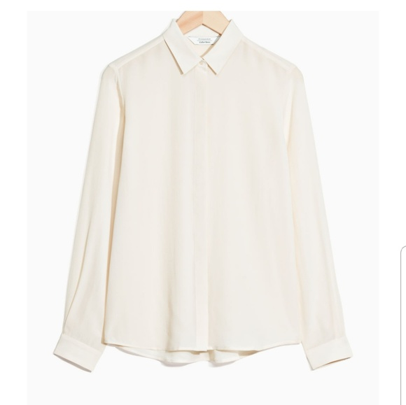 ab07df82980bc Other Stories Tops -   Other Stories Cream Straight Fit Silk Shirt